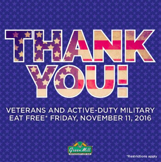 Happy Veterans Day! We'd like to show our gratitude by offering a free meal to all veterans today! https://t.co/3KWIUTUB5g
