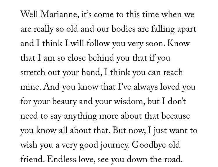 Marianne Ihlen: Leonard Cohen's letter to his love and muse