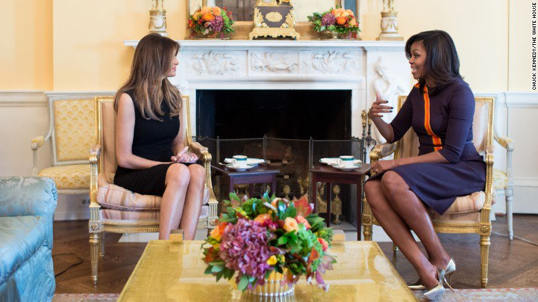Here's what Michelle Obama and Melania Trump talked about over tea at the White House