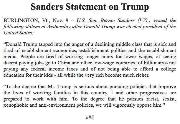 Bernie Sanders comment on Trump https://t.co/eUFabXqov9