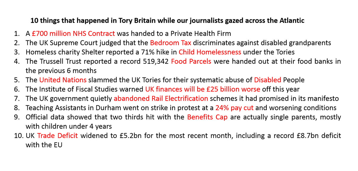 10 things that happened in Tory Britain this week while our Media Bubble gazed across the Atlantic. https://t.co/Fwcvk1LFfK