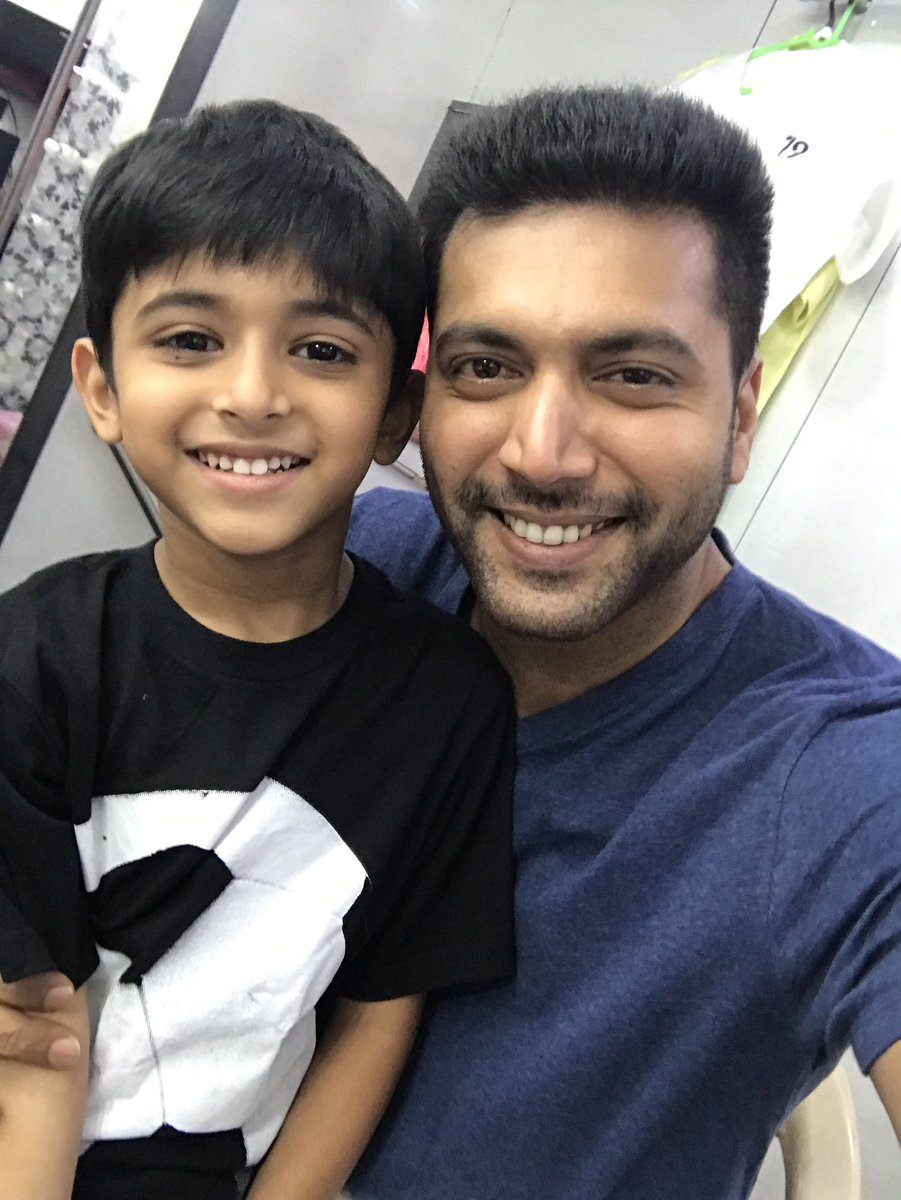 Happiest day of my life! My son Aarav n I are acting together in #TikTikTik !!! God bless him