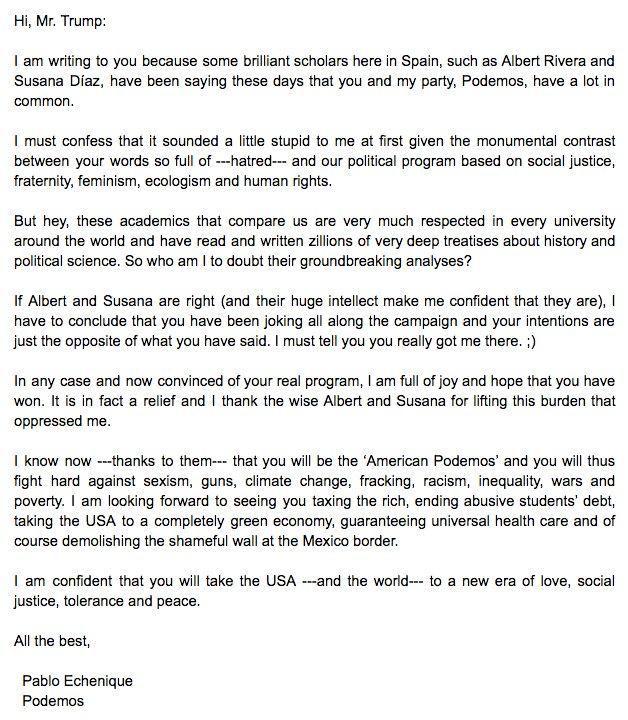 Siguen las bufonadas: Echenique twittea una carta que ha escrito a Trump en la que se mete con Susana Díaz y Rivera