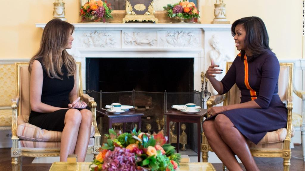 Melania Trump and Michelle Obama sit down for tea in the White House