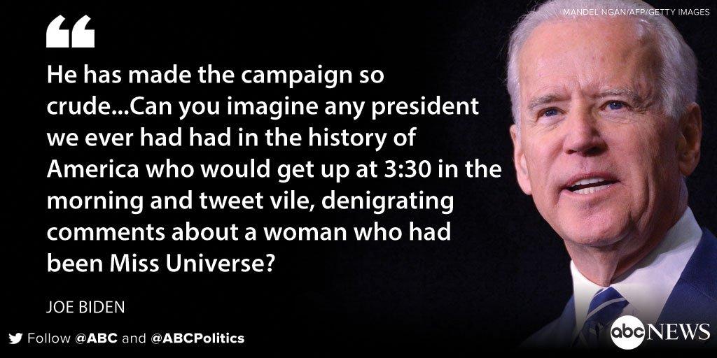 "VP Joe Biden: Trump has made the presidential campaign ""so crude"""