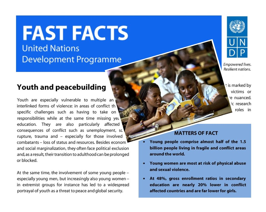 Interested in #Youth4Peace? Read our #FastFacts here: https://t.co/UOIpXzO2At or visit: https://t.co/KNe2rQTKSv! https://t.co/p4CVNytl3I