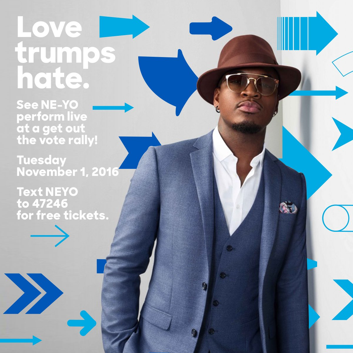 Want FREE tickets to my special performance to get out the vote? Text NEYO to 47246! #ImWithHer https://t.co/6wXlkJWjpp
