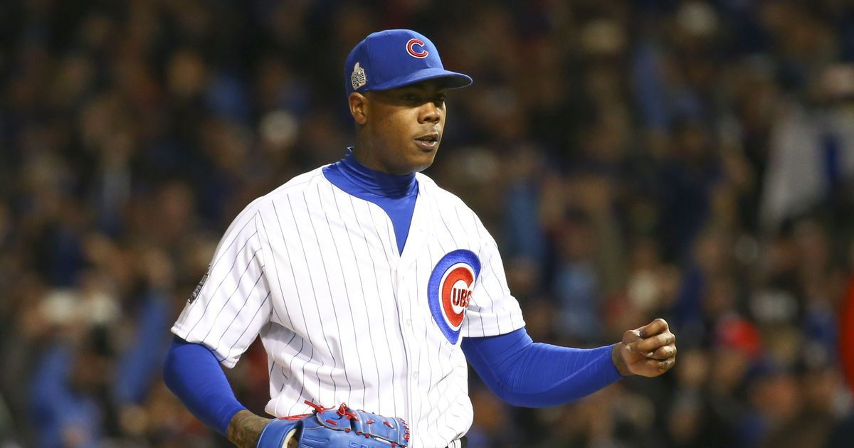 Cubs' Joe Maddon goes all in, deploys Aroldis Chapman for eight-out World Series save