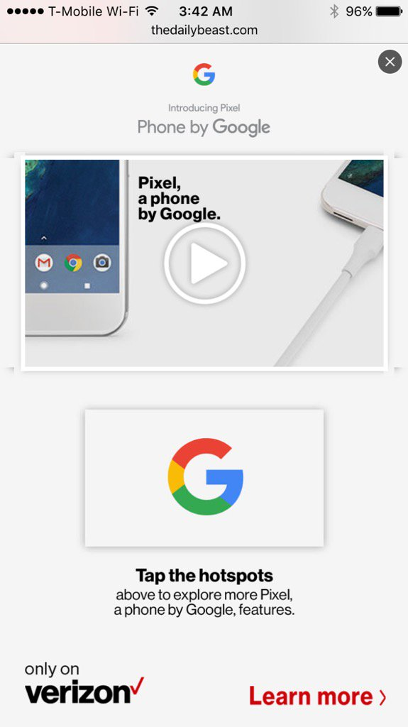 Saw full-screen takeover for Google Pixel. Ironic b/c Google will soon punish mobile sites that have ads like this https://t.co/ven9JW2hfC