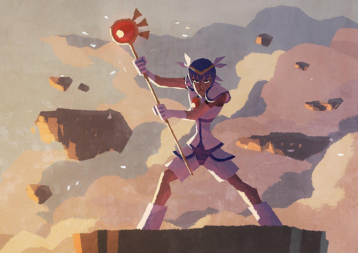 TVアニメ『学園ハンサム』エンドカード用に、レリファーナの加護を受ける戦士であり天空世界ディアハーンの魔力を司る天才魔術