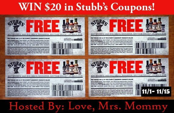 WIN $20 in Stubb's FREE item coupons from Love_MrsMommy! BBQ sauce GIVEAWAY! Grill