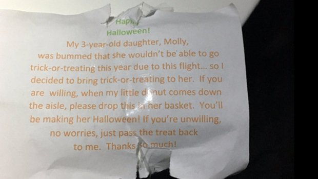Trick-or-treating in the sky for 3-year-old flying through Halloween