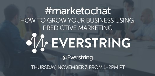 Next #marketochat: @everstring will explore how to grow your business using predictive #marketing. Join us! https://t.co/7brWWAbXv7