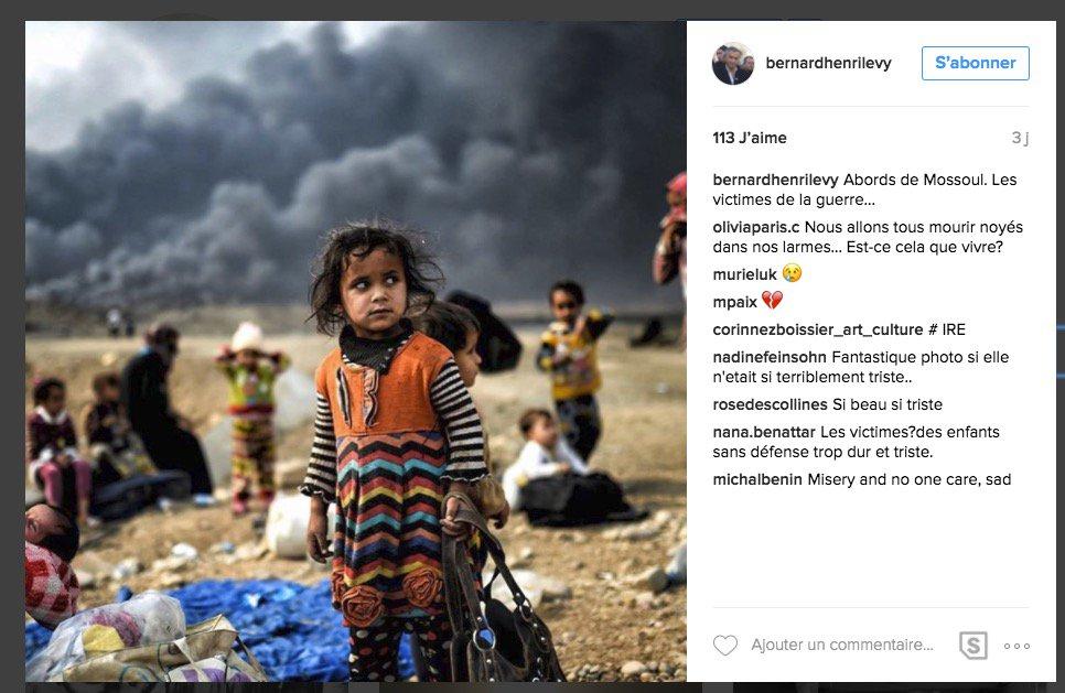 Tranquille, BHL poste un cliché en Irak de @Kilicbil sur son compte Instagram, sans crédit sans rien... https://t.co/ANTnWTCaXl