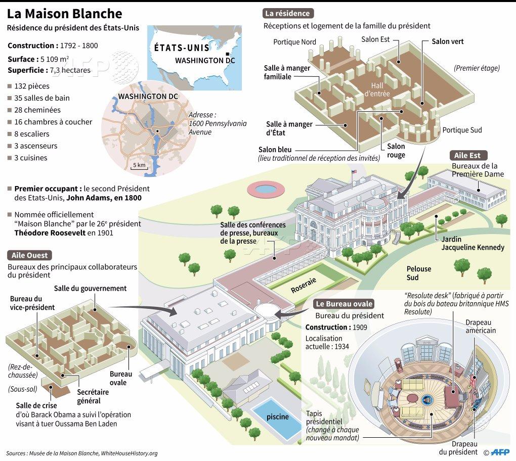 Maison blanche plan en 3d de la r sidence du pr sident for Ambassade de france washington visite maison blanche