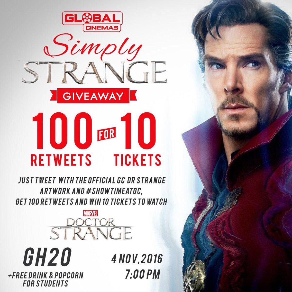 So, I have to watch this movie Dr Strange, but I need 100 RTs.. Let's do this! #ShowTimeAtGC #DrStrange https://t.co/3LwzGlNAa8