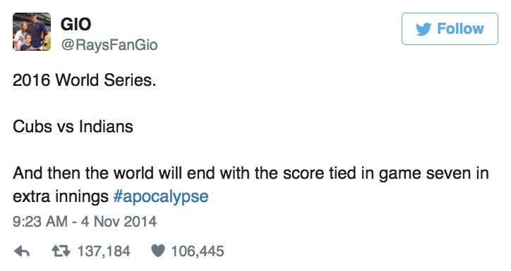 2014 tweet predicting Cubs-Indians World Series Game 7 tie goes viral.