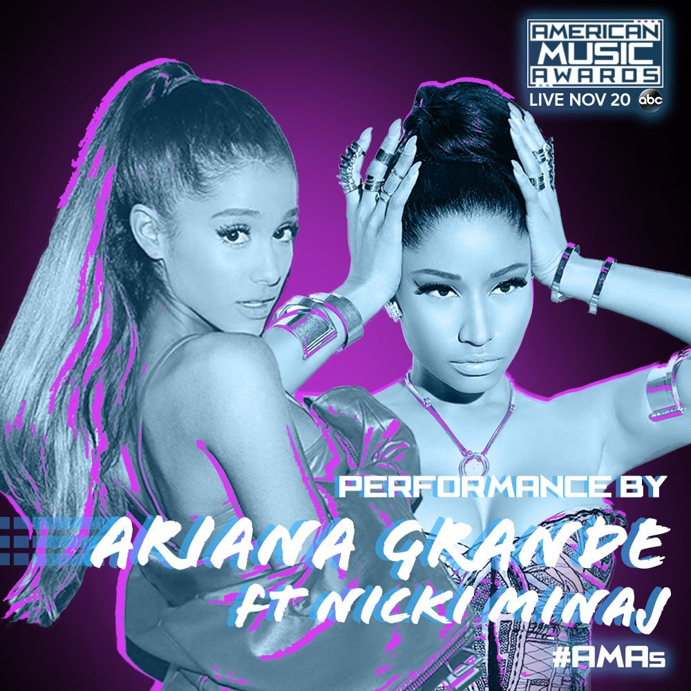 RT @AMAs: ???? ???? ???? @ArianaGrande and @NICKIMINAJ are PERFORMING 'Side to Side' at the #AMAs! LIVE 11/20 on ABC. ???? ???? ???? https://t.co/YBdcnONVC2