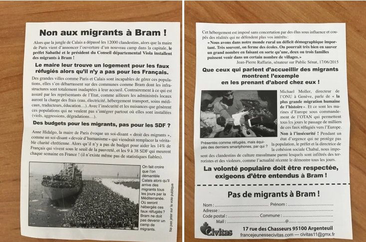 #Aude : le mouvement Civitas fantasme sur un camp de migrants à Bram https://t.co/SKqPWPDWhE