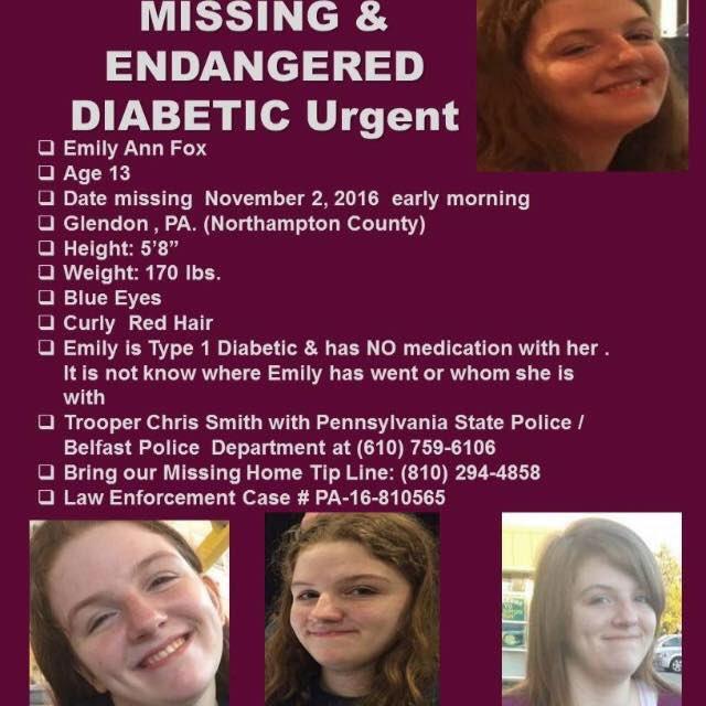 13 year old missing from Glendon, Pennsylvania- Northampton County - has type 1 #diabetes https://t.co/hFYyMW4wbM