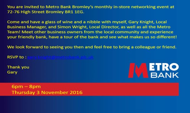 Looking forward to @Metro_Bank's #Bromley #networking #event this evening! #BromleyFL #BeckBromFL https://t.co/v63k3wnxGl