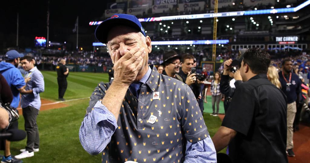 Bill Murray couldn't hide his excitement after the Cubs' World Series victory last night
