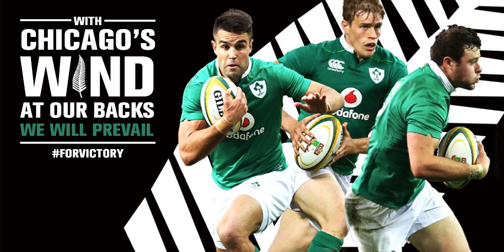 The Windy City plays host to #IREvNZ this Saturday night. Come one, come all, COME ON IRELAND #ForVictory https://t.co/RGYiPa9xcI