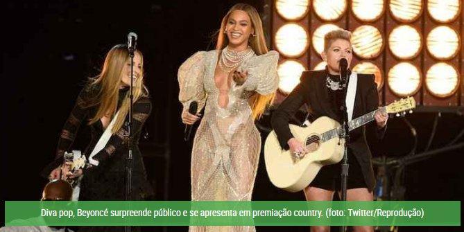 Beyoncé faz apresentação surpresa em premiação da música country; assista