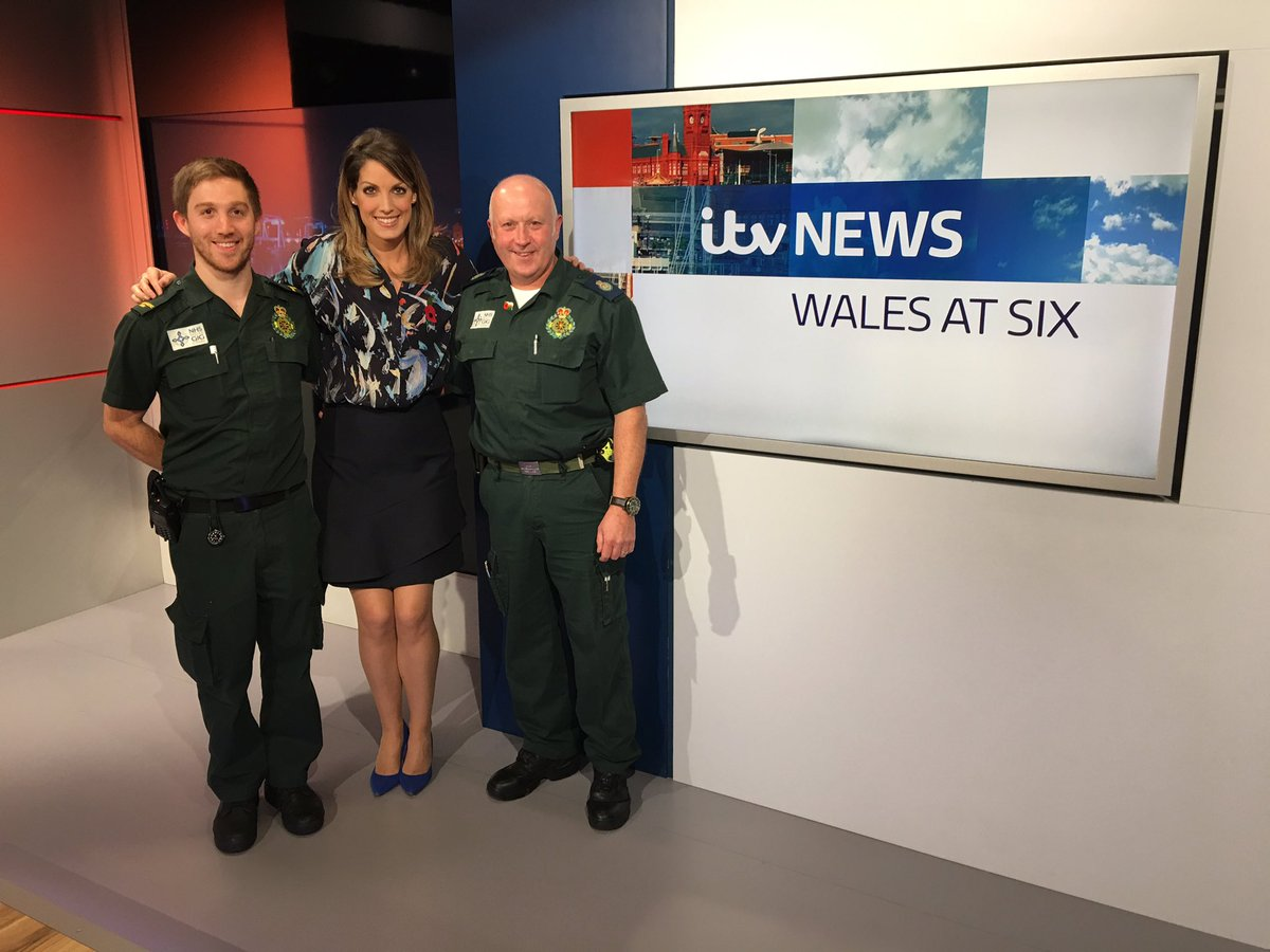 Some visitors to the studio today: Simon & Alex @WelshAmbulance ...what a fab job you do for us all