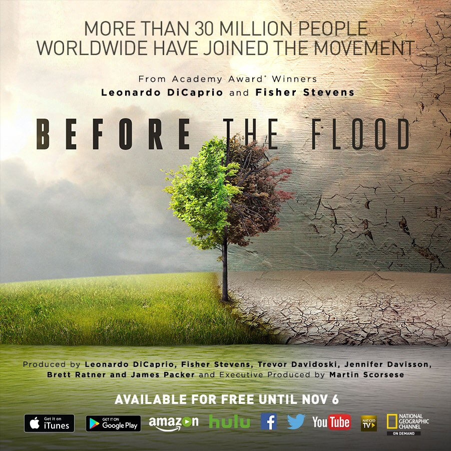 stream @LeoDiCaprio 's #BeforetheFlood for free! visit https://t.co/2ownLQpiAt to find a platform. get informed ! https://t.co/gRx0sJ6T0a