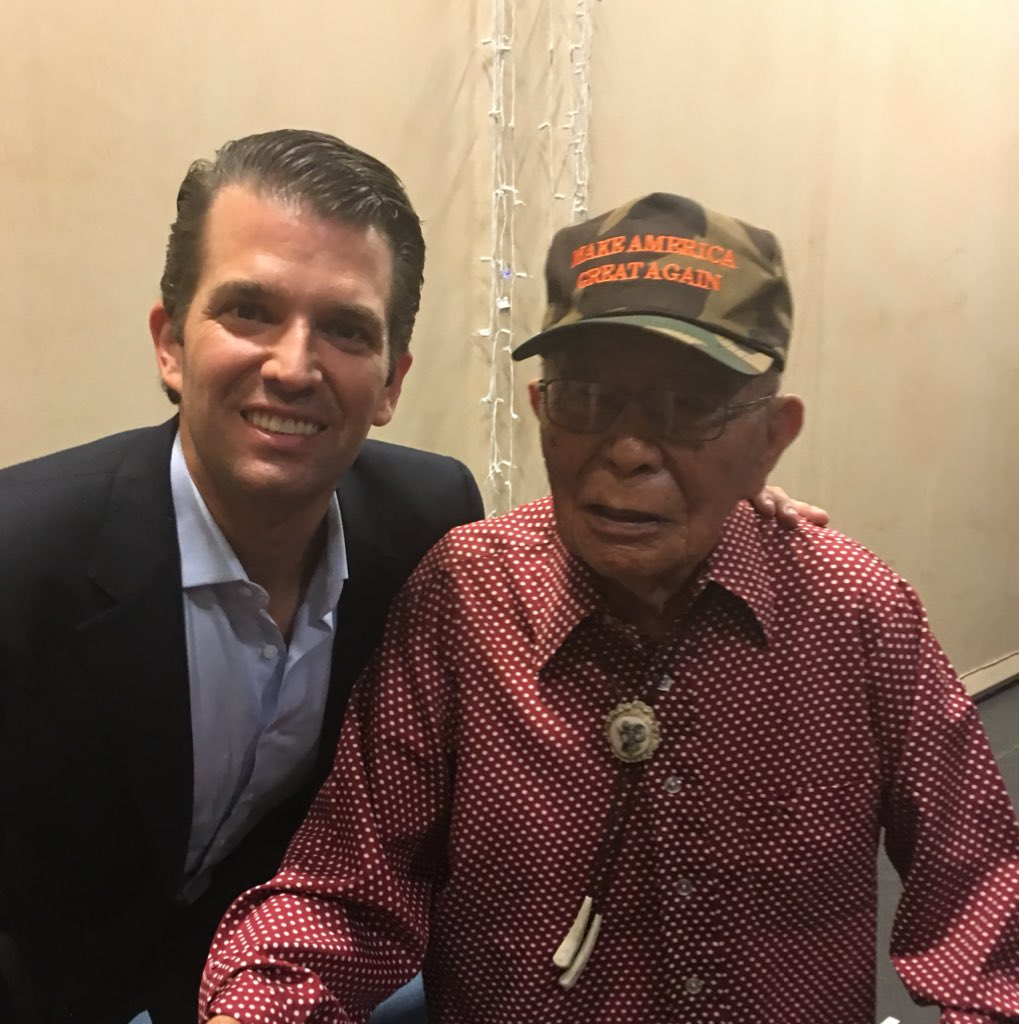 Doesn't get cooler than this. WWII Hero & Navajo Code Talker came to see me in NM today to support @realDonaldTrump https://t.co/RcblmDDa6K