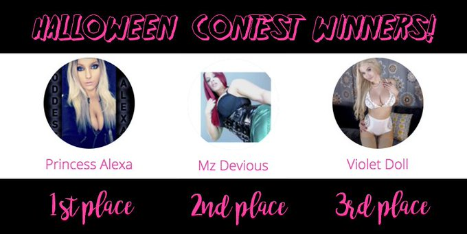 @GoddessAlexa20 @Devious_Muscle @VioletDoll  Congratulations to our winners for the Halloween 2016 Clip