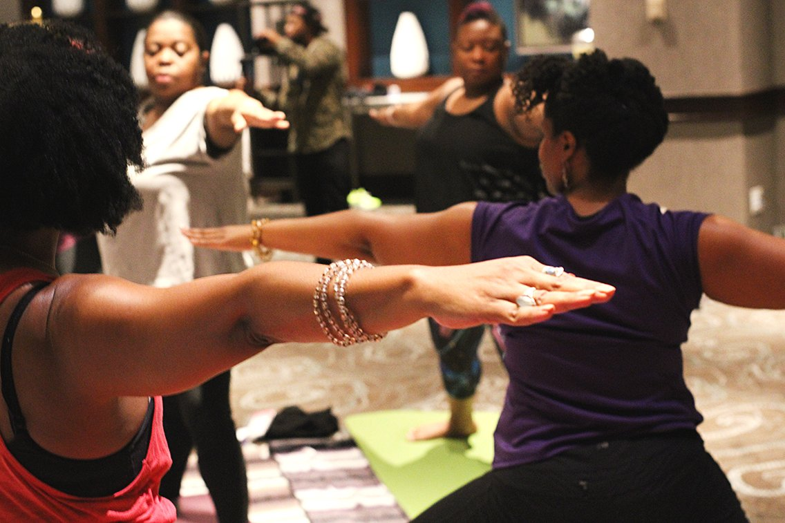 """There is no """"Namaste in bed"""" this AM! We're at the Early Morning Yoga + Meditation session. #Blogalicious8 https://t.co/0XV1r8bSEQ"""
