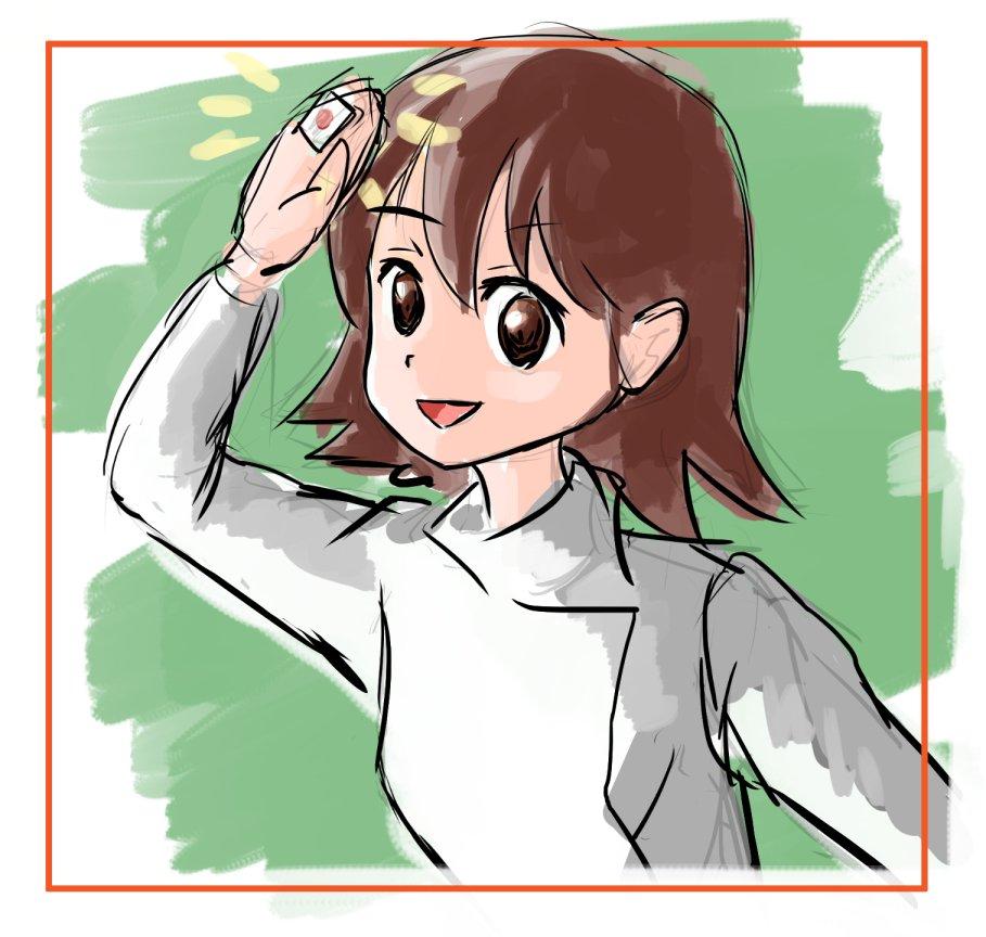 記憶だけで落描き。荒川さん。これも服間違ってた。咲-Saki-キャラ難しい。
