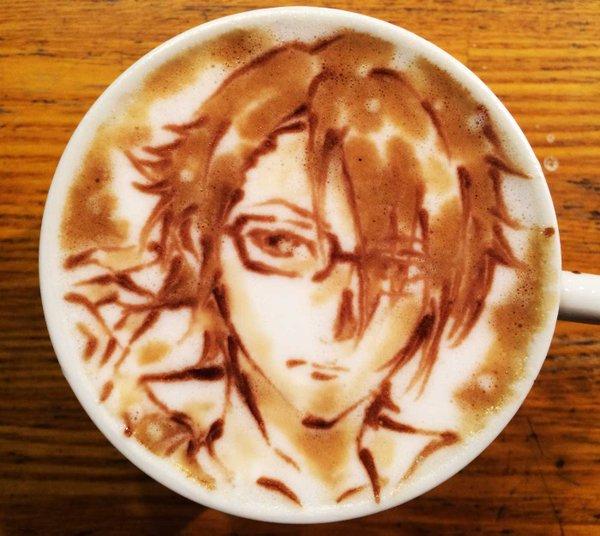ラテアート【伏見猿比古】@ KLatteArt【Saruhiko Fushimi】本日お誕生日で1杯。Happy Bir