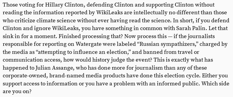 It's ignorant to vote for Hillary Clinton without reading WikiLeaks  https://t.co/Tiywc9Nrgr