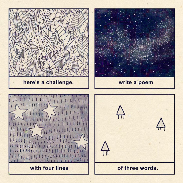 RT @hitRECord: What kind of 3x4 poems can you create? https://t.co/KJ9IMtvqsx https://t.co/AFH647Ax11