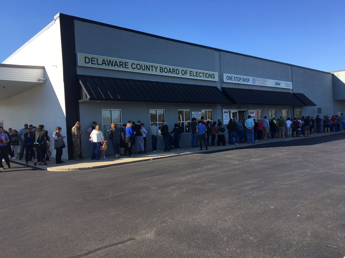 Update. Two hours into early voting today. Still long line around Delaware County Early voting center. https://t.co/hDYmTMako6