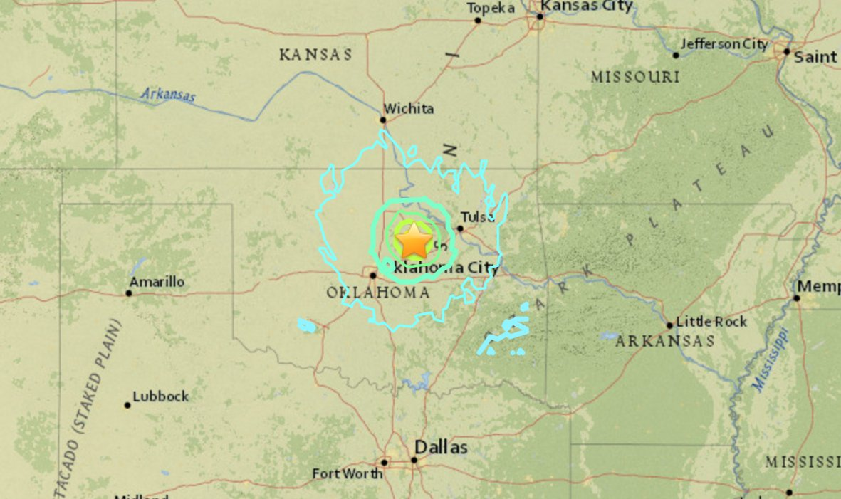 JUST IN: Preliminary 5.3-magnitude earthquake rattles central Oklahoma, according to USGS.