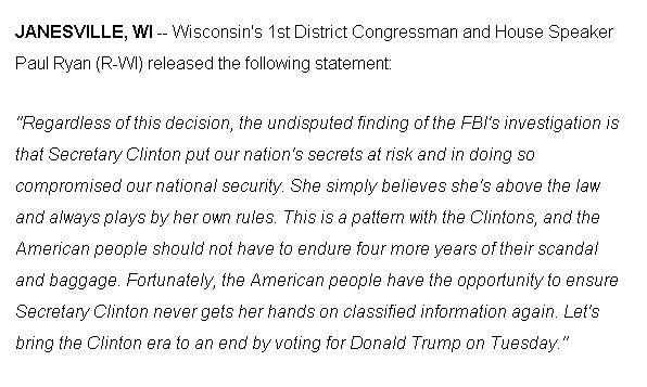 Statement from @SpeakerRyan on FBI announcement on Clinton investigation. #news3 https://t.co/55kcSndg2S