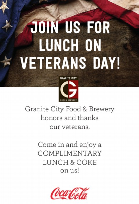 Lunch and a coke on us for all veterans and active military members on Veterans Day! https://t.co/lUraqHCpKm
