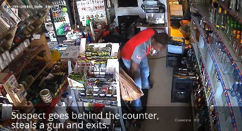 Surveillance video shows man steal assault rifle from north St. Louis County store