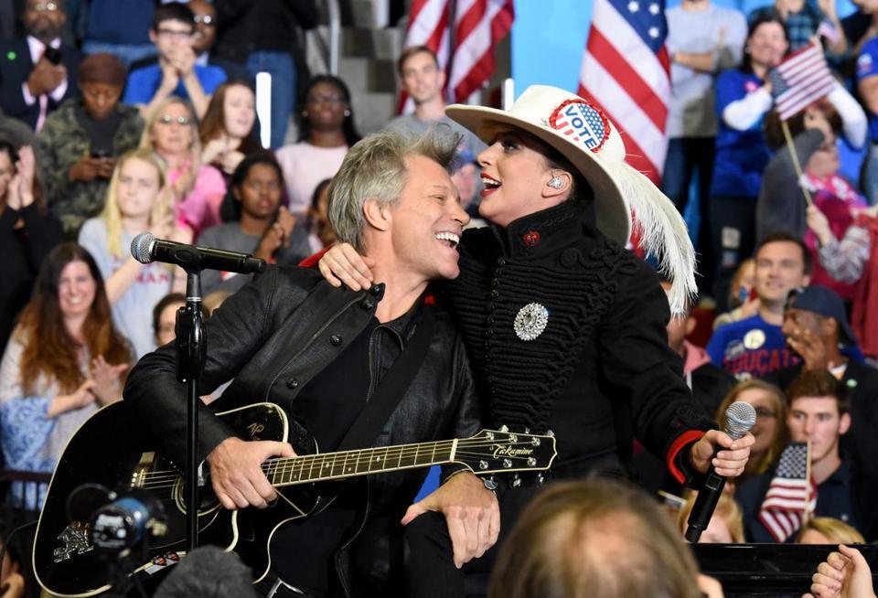 Lady Gaga, Jon Bon Jovi appear at Hillary Clinton's campaign finale
