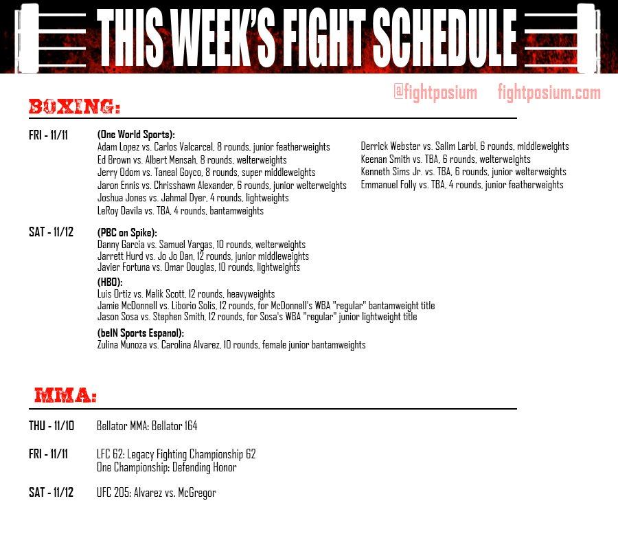 This Week's Fight Schedule! #Boxing #MMA #UFC #ufc205 https://t.co/xjF0XJib0D