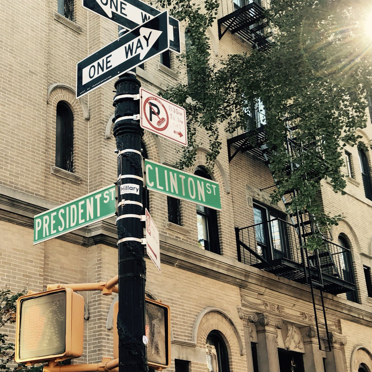 Intersection of President & Clinton where people are taking pics & giving each other hope. #Brooklyn #WereWithHer https://t.co/vlZzNbRbET