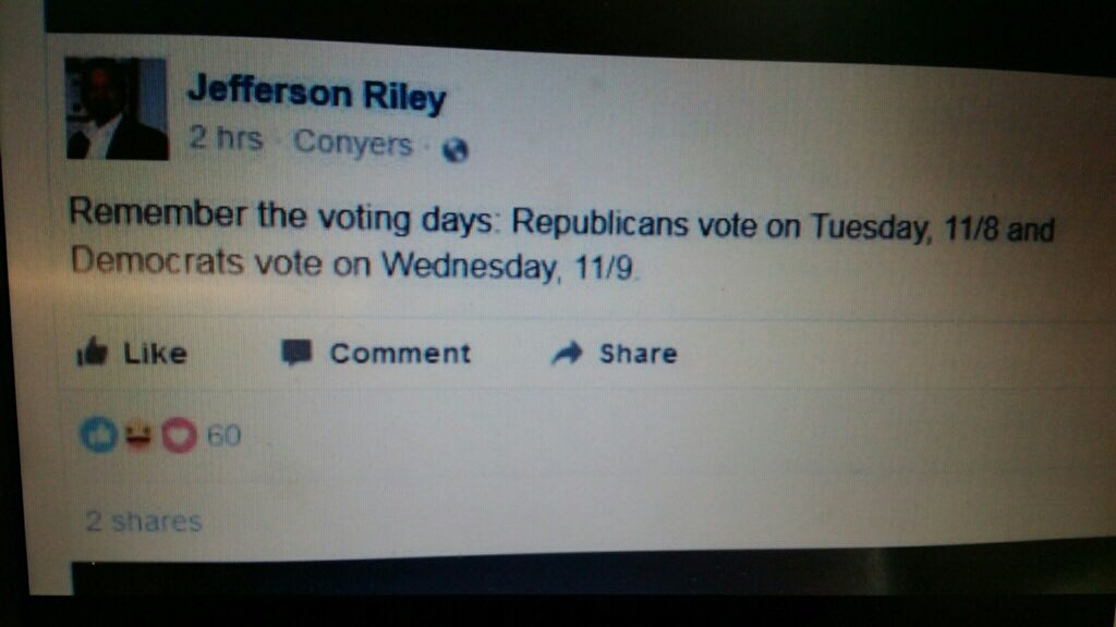 Wow. Just got this screengrab from a friend. Jefferson Riley, the Republican mayor of Mansfield, Georgia trying to fool Democratic voters.