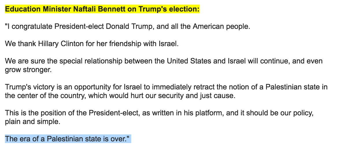 "Israeli education minister @naftalibennett says Trump's victory means ""the era of a Palestinian state is over"". https://t.co/pCLLyDWPOz"