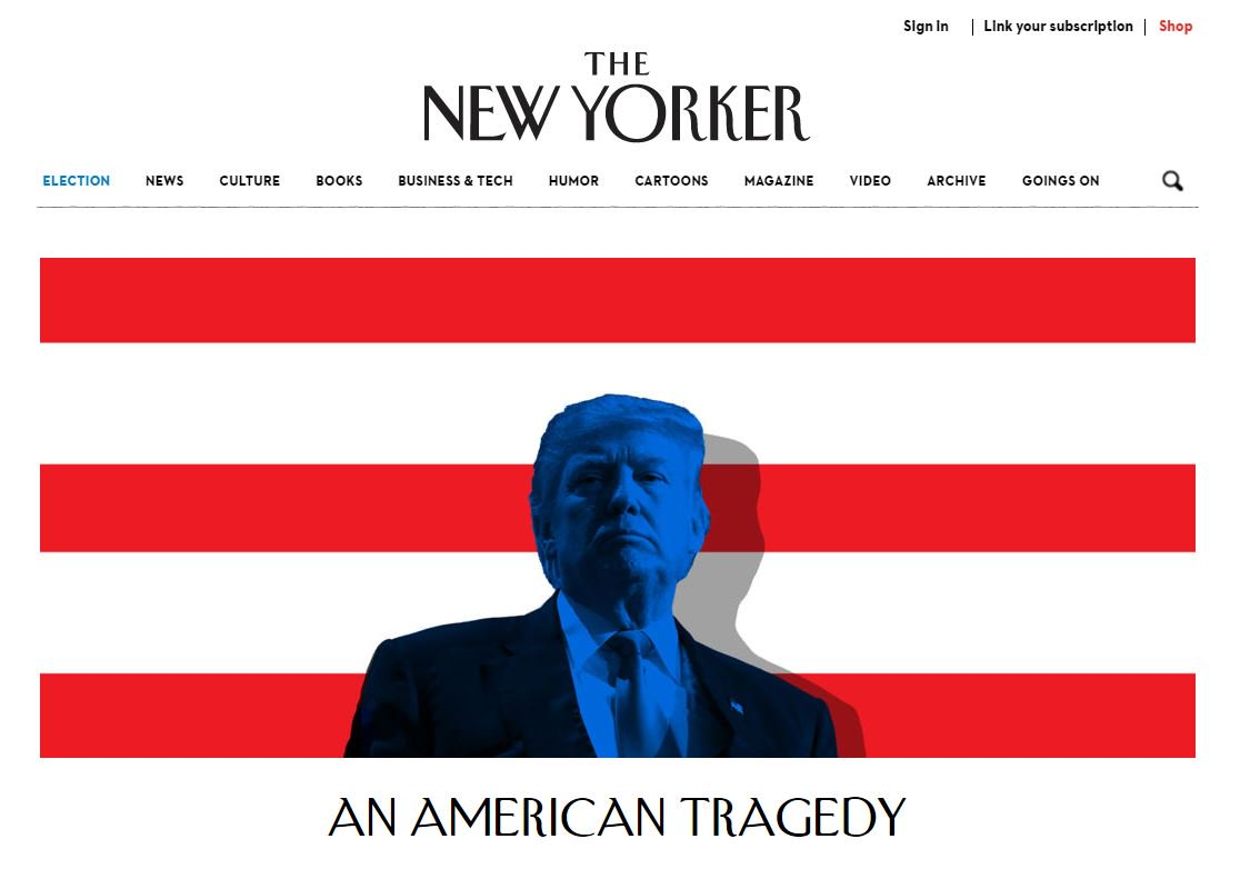'An American Tragedy' en une du site du @NewYorker #Election2016
