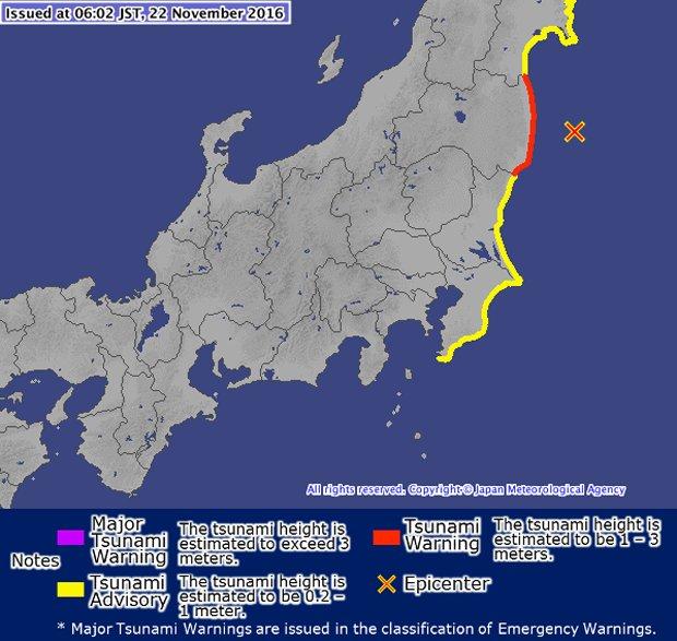 Tsunami warning issued after 7.3-magnitude quake strikes off Fukushima in Japan