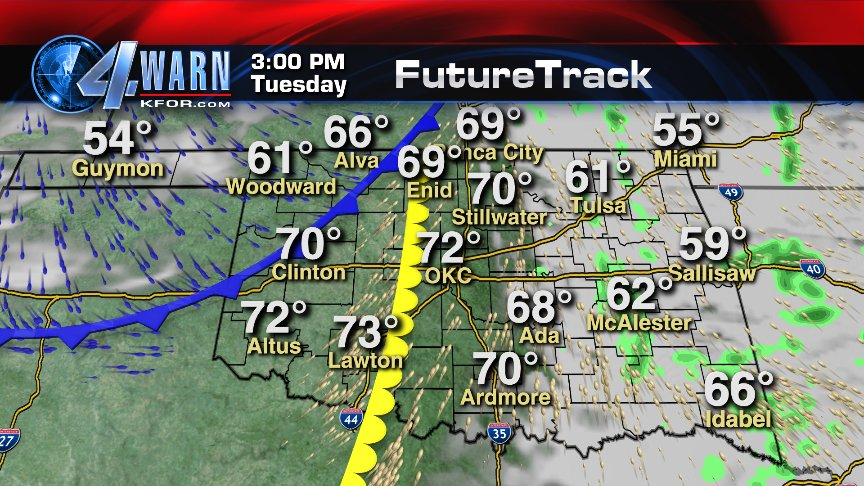 Cold Front On Weather Map.3pm Tuesday Weather Map Cold Front Dry Line West Of Okc Morning